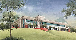 Watercolor rendering of the new laboratory building. Link to photo information