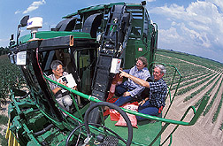 Agricultural engineering professor, plant physiologist, and technician on a cotton picker: Click here for full photo caption.