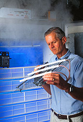 Agricultural engineer demonstrates an electrostatic air-cleaning system: Click here for full photo caption.