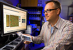 Geneticist analyzes BovineSNP50 BeadChips for genotypic data that decodes each animal's genome at more than 50,000 locations: Click here for full photo caption.