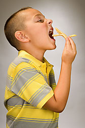 Fried foods raise the energy density of fast-food kids' meals. As obesity rates rise in the United States, so does the percentage of meals eaten away from home: Click here for photo caption.