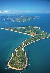 Aerial view of Plum Island, an 840-acre island located 1.5 miles off the northeastern tip of Long Island, New York: Click here for full photo caption.