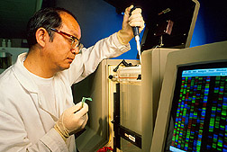 Microbiologist uses DNA sequencer to examine genetically engineered ASF viruses