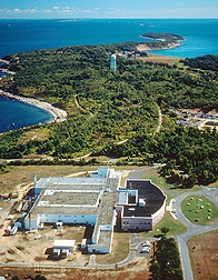 Aerial view of Plum Island Animal Disease Center.