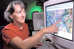 Susan Moran assesses condition of grassland from a satellite image:  Link to photo information