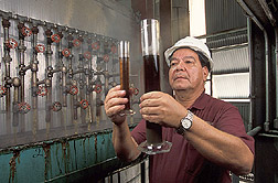 Production manager inspects clarified juices: Click here for full photo caption.