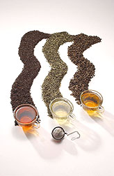 Photo: Black, green and oolong teas. Link to photo information