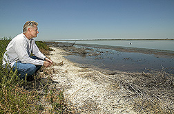 Photo: ARS soil scientist Dennis Corwin sits by the salt-encrusted edge of an evaporation drainage pond. Link to photo information