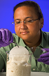 Microbiologist saturates filter paper with the foam solution for termite bioassays: Click here for full photo caption.