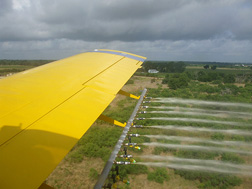 In-flight testing of water being released from the Bete nozzles: Click here for photo caption.