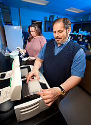 Geneticist (right) and technician prepare bovine DNA samples for mass-spectrometry: Click here for full photo caption.