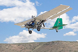During a 2008 aerial survey of streamside vegetation in Nevada, Joe Nance of Cloud Street Aerial Services, Fort Collins, Colorado, flies a light sport plane at about 300 feet while using a remote-sensing package developed by ARS: Click here for photo caption.