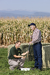 Colorado State University soil scientist (left) and ARS soil scientist assess soil water content of a rotation that includes deep-rooted alfalfa with limited irrigation: Click here for full photo caption.