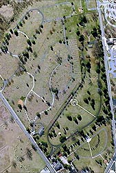 NASA satellite image of Soldiers' Cemetery today: Click here for photo caption.