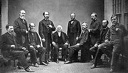William Saunders (second from left in this 1867 photo) and other high-ranking officials were part of the supporting cast of first Commissioner of Agriculture, Isaac Newton (fifth from left): Click here for full photo caption.