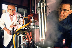 Chemists process starch and oil together in superheated steam under pressure to form Fantesk. Click here for full photo caption.
