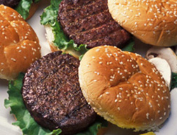 Photo: Hamburgers on a platter. Link to photo information.