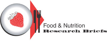 Table place setting with strawberry. Title: Food and Nutrition Research Briefs. Link to FNRB home page