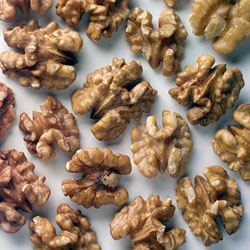 Photo: Close up of walnuts.