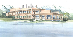 Watercolor rendering of the new laboratory facility: Click for larger view