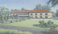 Pencil rendering of the new Subtropical Horticulture Research Station building in Florida