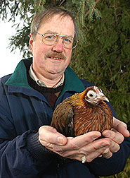 Photo: Jerry Dodgson with chicken No. 256.