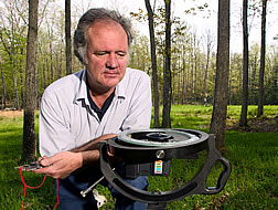 Charlie Feldhake prepares to use a hemispheric lens and camera. Link to photo information