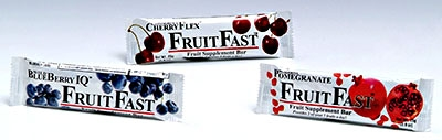Photo of three individual FruitFast bars.