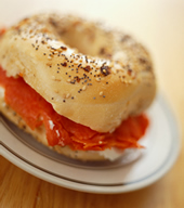Bagel sandwich with salmon.