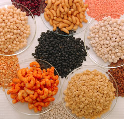 Variety of legume snacks and the legumes from which they were made.