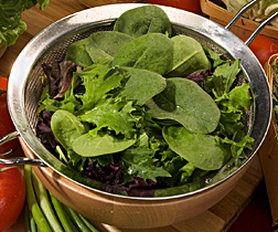 Photo: Strainer full of salad greens. Link to photo information