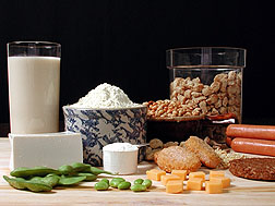 Photo: A variety of foods that have soy in them.