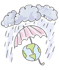 Cartoon of rain and an umbrella over a globe.