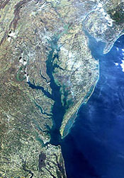 Photo: Satellite image of the Chesapeake Bay.