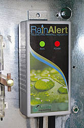 Photo: Instrument that detects rainfall as part of an automated irrigation system.