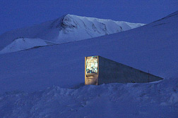 Photo: The entrance to the Svalbard Global Seed Vault rises out of the snow like a fin.