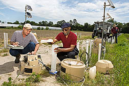Photo: ARS soil scientist Ray Bryant (left) and UMES colleague Arthur Allen collect groundwater samples. Link to photo information
