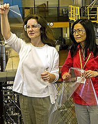 Photo: Two scientists examining film for food packaging.