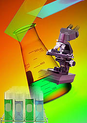 Photo: Montage of laboratory glassware and a microscope.