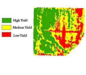 Photo: Map showing high to low yielding areas in a field.