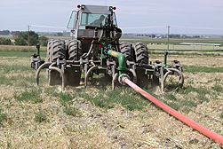 Photo: Manure injector in a field.