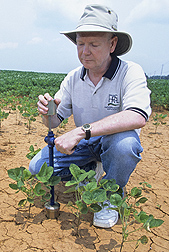 Photo: ARS hydrologist Tom Jackson testing soil moisture readings to compare methods. Link to photo information