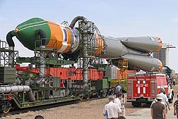 Photo: The Soyuz rocket, with algae samples are on board, is being prepared for launch.