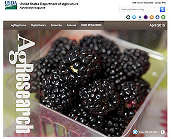 Screenshot of main page of the new AgResearch magazine web site. Link to web site.