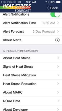 Screen of Heat Stress app